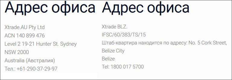 xforex_adresses