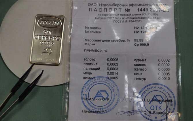 Слиток серебра сбербанк цена